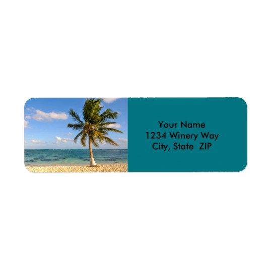 Palmier et plage étiquette d'adresse retour