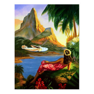 Palmier hawaïen tropical vintage d'avion de mer carte postale