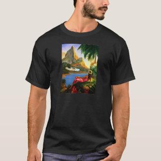 Palmier hawaïen tropical vintage d'avion de mer t-shirt