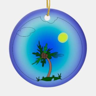 palmier ornement rond en céramique