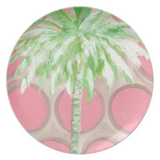 Palmier rose de point de polka de plat assiettes en mélamine