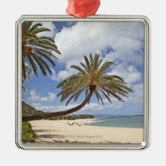 Palmier se penchant au-dessus du sable au coucher ornement carré argenté