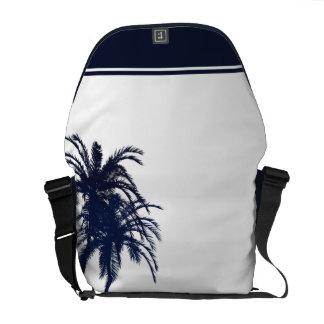 Palmier tropical de bleu marine et blanc sacoche