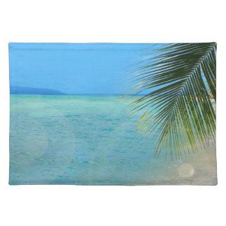 Palmier tropical et océan des Caraïbes Sets De Table