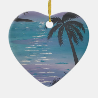 Palmier tropical ornement cœur en céramique