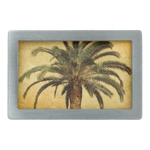 Palmier vintage - modèle customisé tropical boucle de ceinture rectangulaire