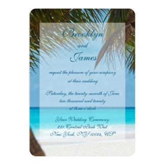 Palmiers aux invitations de mariage de plage