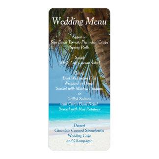 Palmiers aux invitations de menu de mariage de