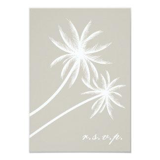 Palmiers blancs épousant RSVP Carton D'invitation 8,89 Cm X 12,70 Cm