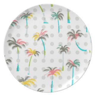 Palmiers d'aquarelle assiette