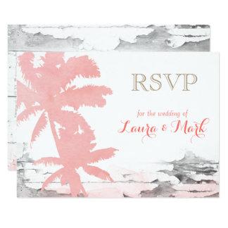 Palmiers de corail de carte du mariage de plage carton d'invitation 8,89 cm x 12,70 cm