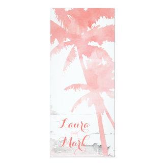 Palmiers de corail d'invitation de mariage de carton d'invitation  10,16 cm x 23,49 cm