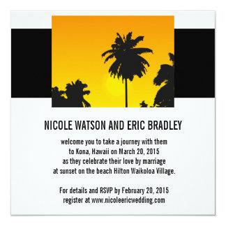 Palmiers de coucher du soleil d'invitations de carton d'invitation  13,33 cm