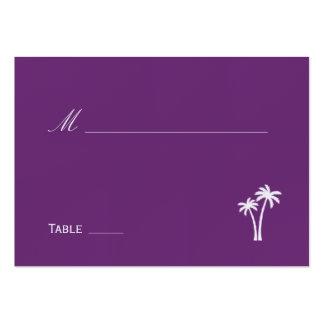 Palmiers épousant la carte d'endroit - pourpre cartes de visite personnelles