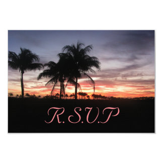 Palmiers et carte de réponse de coucher du soleil carton d'invitation 8,89 cm x 12,70 cm