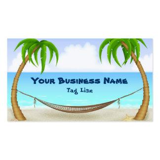 Palmiers et carte de visite de plage d'hamac