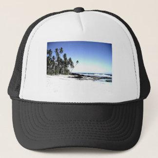 Palmiers et plage exotiques de paradis casquette