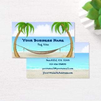 Palmiers et plage tropicale d'hamac cartes de visite