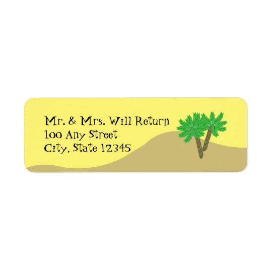 Palmiers et sable étiquette d'adresse retour