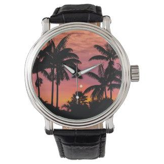 Palmiers silhouettés, Hawaï Montre
