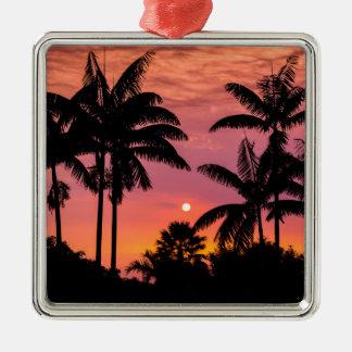 Palmiers silhouettés, Hawaï Ornement Carré Argenté