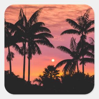Palmiers silhouettés, Hawaï Sticker Carré