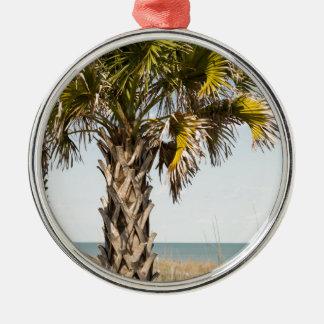 Palmiers sur la promenade de Côte Est de Myrtle Ornement Rond Argenté