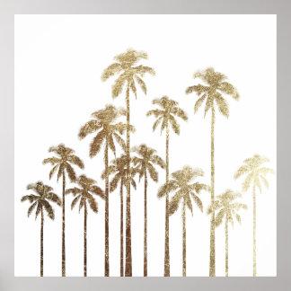 Palmiers tropicaux d'or fascinant sur le blanc posters
