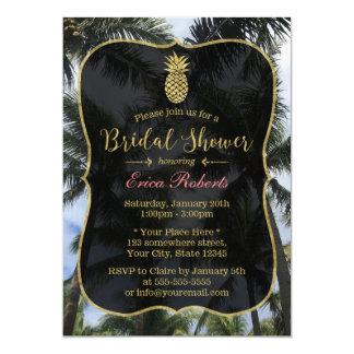 Palmiers tropicaux et douche nuptiale d'ananas carton d'invitation  12,7 cm x 17,78 cm