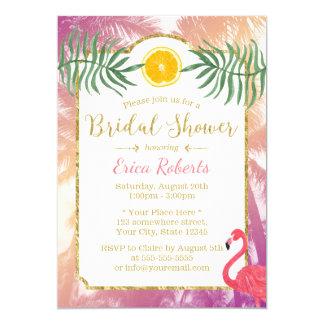Palmiers tropicaux et douche nuptiale de fruit carton d'invitation  12,7 cm x 17,78 cm