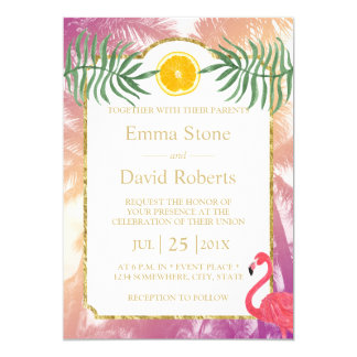 Palmiers tropicaux et mariage orange d'été de carton d'invitation  12,7 cm x 17,78 cm