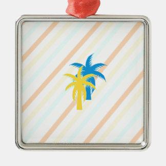 palmiers tropicaux ornement carré argenté
