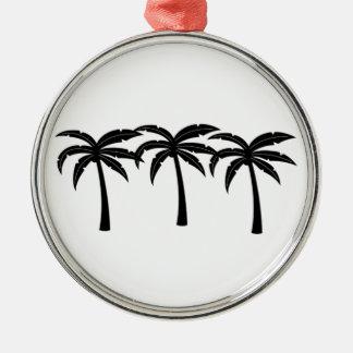 Palmiers tropicaux ornement rond argenté