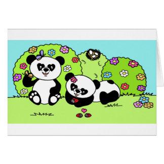 panda and butterfly carte de vœux