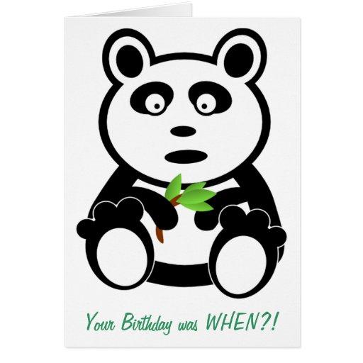 Panda avec l'anniversaire tardif de bambou cartes de vœux