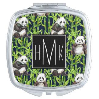 Panda avec le monogramme en bambou du motif | miroirs à maquillage