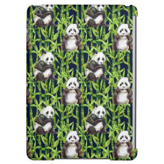 Panda avec le motif en bambou d'aquarelle