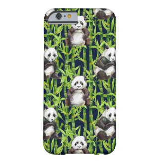 Panda avec le motif en bambou d'aquarelle coque barely there iPhone 6