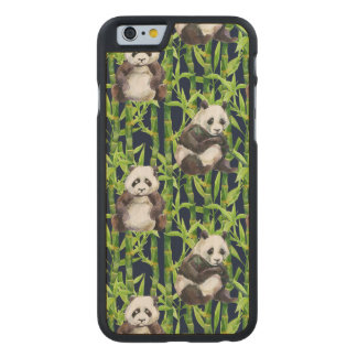 Panda avec le motif en bambou d'aquarelle coque carved® slim iPhone 6 en érable