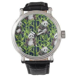 Panda avec le motif en bambou d'aquarelle montres bracelet