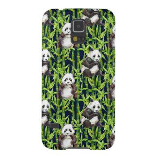 Panda avec le motif en bambou d'aquarelle protections galaxy s5