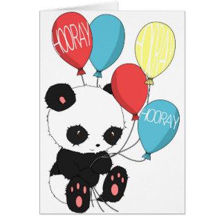 Panda d'anniversaire avec des ballons carte de vœux