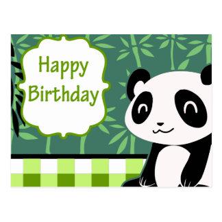 Panda de bambou de vert de joyeux anniversaire carte postale