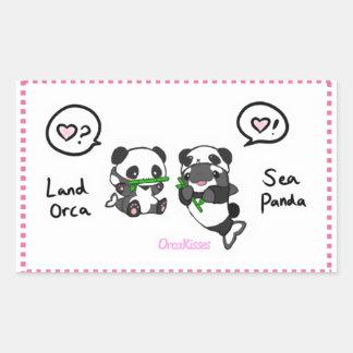 Panda de mer + amis d'orque de terre sticker rectangulaire