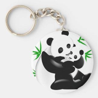 Panda de mère et porte - clé de panda de bébé porte-clé rond