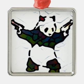 Panda de tueur ornement carré argenté