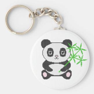 Panda drôle de point de croix porte-clé rond