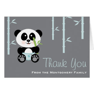 Panda en bambou bleu dans le Merci de baby shower Cartes De Vœux
