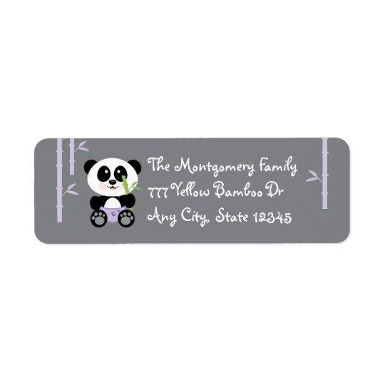 Panda en bambou pourpre de bébé dans le retour de  étiquette d'adresse retour
