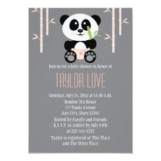 Panda en bambou rose dans le baby shower de carton d'invitation  12,7 cm x 17,78 cm